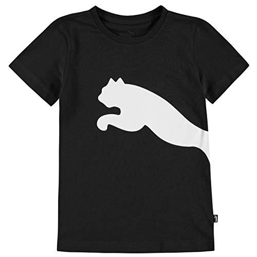 PUMA Ragazzo Big Cat QT T-Shirt Manica Corta Maglietta Nero/Bianco 9-10 Anni