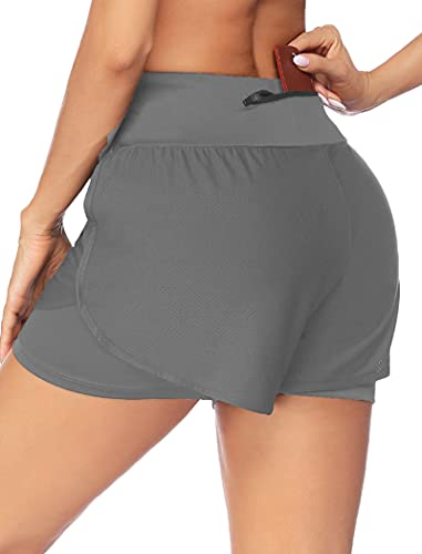 YEEZOMI Women's 2 in 1 Running Shorts Workout Athletic Gym Yoga Shorts with Liner for Women Gray