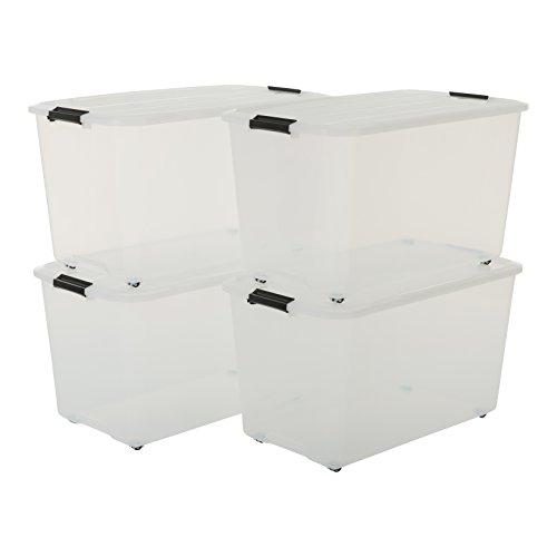 Iris Ohyama, 4er-Set stapelbare Aufbewahrungsboxen auf Rollen mit Klickverschluss - Top Box Roller TBR-70 - plastik, transparent, 4 x 70 L, L68 x B39 x H37,8 cm