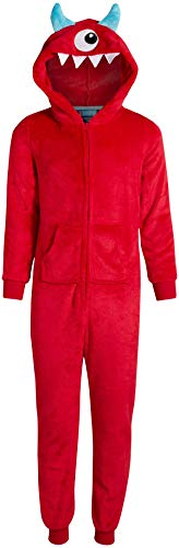 Only Boys' Footless Micro Fleece Onesie Pajamas with Character Hood, Red Cyclops, Size Large 12/14''