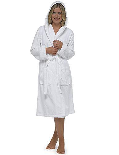 Bata de baño para mujer, de lujo, 100 % algodón con bucles, perfecta para regalo de Navidad Blanco blanco S