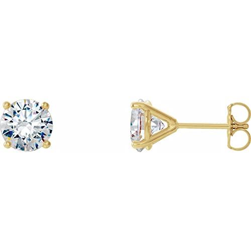 Pendientes de oro amarillo de 14 quilates de 0,5 quilates con diamantes de 4 puntas estilo cóctel para regalo para mujeres