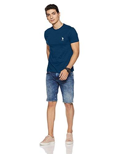 US Polo Association Men's Solid Regular Fit T-Shirt (I633-195-PL_Navy_Large)