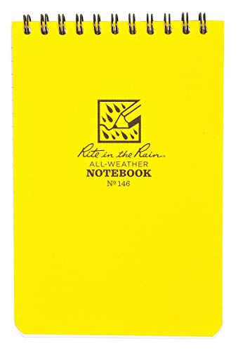 Rite in the Rain Weatherproof Top Spiral Notepad, Yellow Cover, Universal Pattern, 3 Pack (No. 146-3), 6 x 4 x 0.375