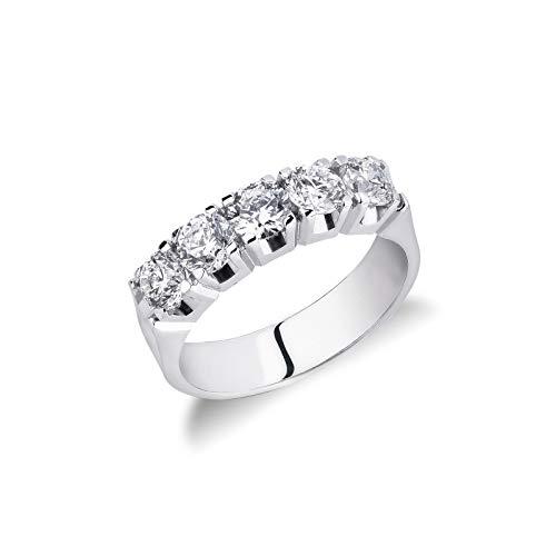 Gioielli di Valenza - Anello Veretta a cinque pietre in Oro bianco 18k con diamanti ct. 1,50 - FE5RA150BB - 9