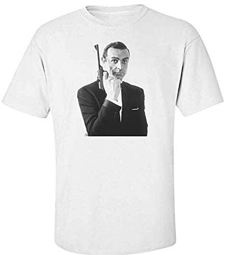James Bond Sean Connery 007 Goldfinger Dr. No Movie White T-Shirt White XL