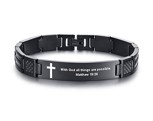 MEALGUET with God All Things are Possible Engraved Stainless Steel Christian Bible Verse Cross Carbon Fiber Link Bracelet for Men Boy