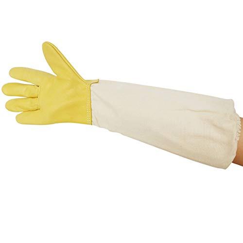 guanti apicoltura Probeeallyu - Guanti protettivi per apicoltori in pelle di capra con maniche in cotone spesso ventilato