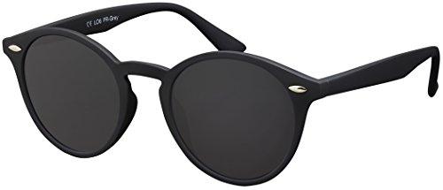 Originale La Optica UV400 Occhiali da Sole Unisex Specchiata Rotondi - Confezione Singola Gommata Nero (POLARIZZATE Lenti: Grigio)