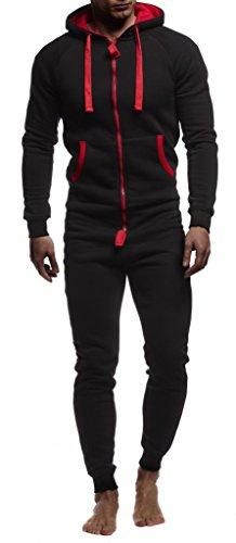 Leif Nelson Herren Overall Jumpsuit Onesie Trainingsanzug Jogginghose Trainings T-Shirt Fitness Stringer Bekleidung LN8154; Größe M; Schwarz-Rot