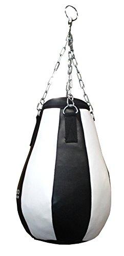 Lisaro Maisbirne aus Kunstleder, gefüllt/im 6-Elementen Design inkl. Stahlketten-Aufhängung/Weiss-schwarz. 60CM Hoch-8KG