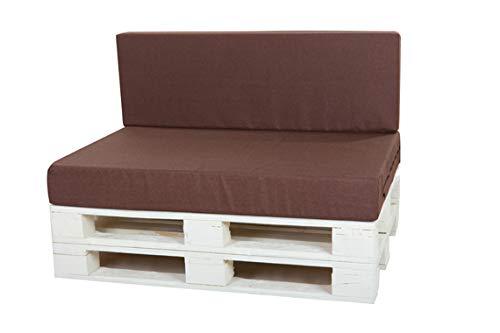 KRUGER Set : 120 x 80 x 15 cm/120 x 40 x 10 cm, Coussins de siège de 15 cm d'épaisseur, pour palettes, Jardin, pub, rotin intérieur/extérieur, loft, Coussin Marron