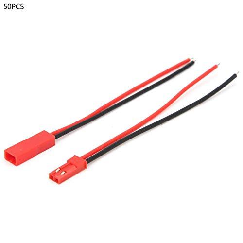 Cable conector - 50 pares Cable conector de aislamiento de PVC 2 pines Núcleo de cobre estañado Cable de salto de silicona rojo macho y hembra 22AWG