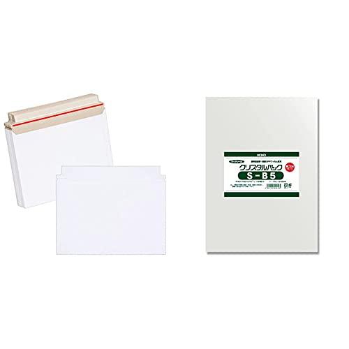 【セット買い】アイ・エス 厚紙封筒 B5サイズ対応 25枚 BE-B5-25 白 & シモジマ ヘイコー 透明 OPP袋 クリスタルパック B5 厚口 100枚 04S-B5 厚0.04×幅195×高270mm