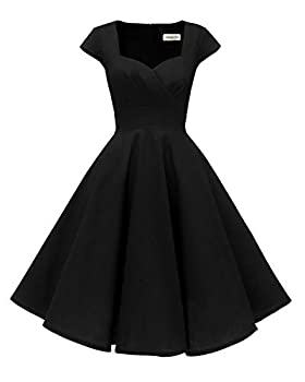 Hanpceirs Women s Cap Sleeve 1950s Retro Vintage Cocktail Swing Dresses with Pocket Black M New