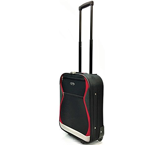 18' Super Lightweight Hand Luggage Carry-On Cabin Approved Suitcases Travel Bags with 2 Wheels for Ryanair, EasyJet, BA, Monarch, Thomas Cook, Thompson, Many More! (18' Carry-On, Black/Red 1128)