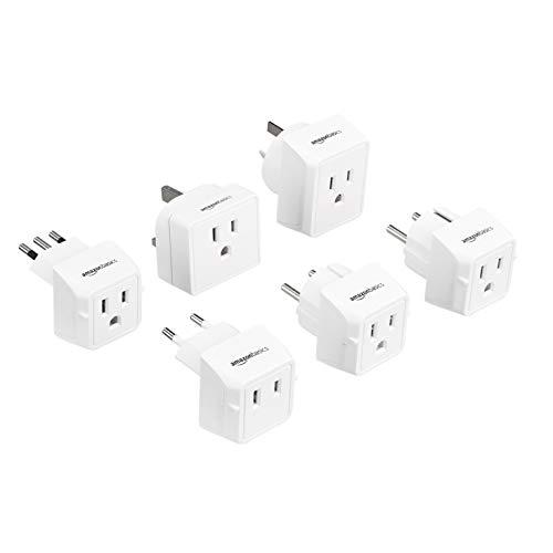 Amazon Basics World Travel Plug Adapter Set (Type C, Type G, Type L, Type E/F, Type I, Type H) - 6 Pack