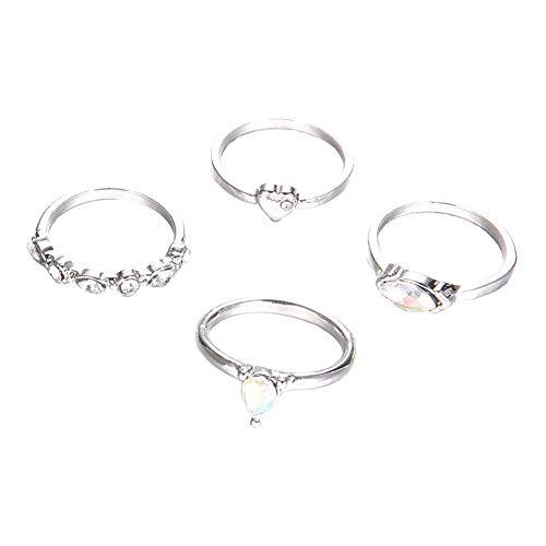 Emorias 4-teiliges Ring-Set für Damen, Modeschmuck, Hochzeit, Verlobung, Schmuck, Accessoires, Liebesschmuck, Geschenke