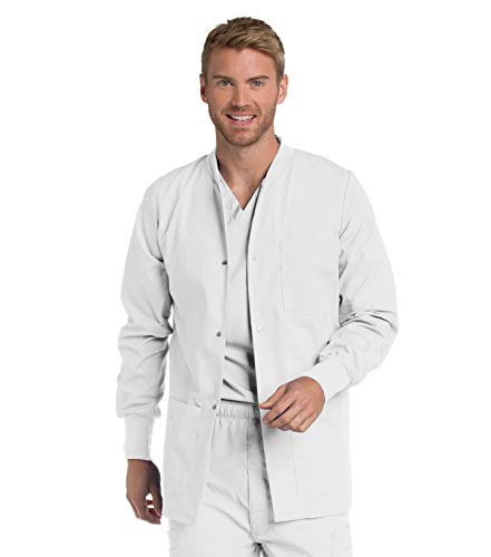Landau Men's Premium 4-Pocket Classic Fit Warm-Up Medical Scrub Jacket, White, Medium