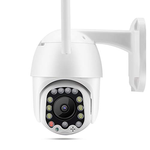 Cámara de Seguridad Blanca de 2.5 Pulgadas, 1080P 13LED WiFi PTZ Cámara de Seguridad Domo para Exteriores con Almacenamiento en la Nube, IP65 Intercomunicador de Voz bidireccional ABS(AU Plug)