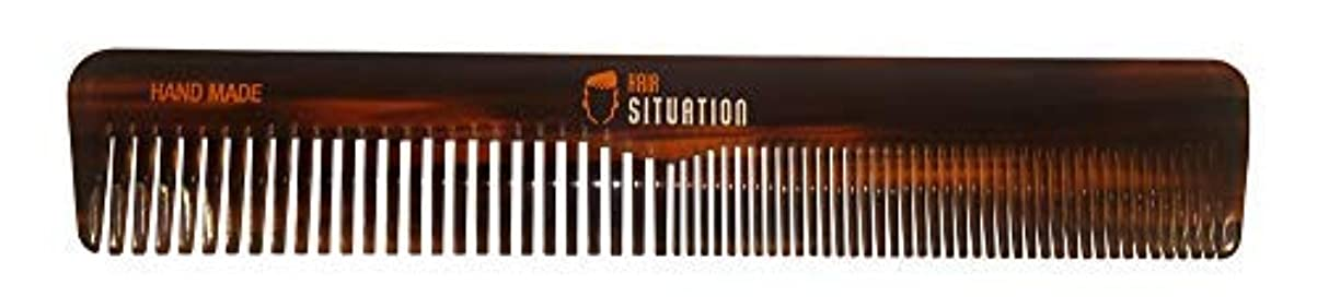 所有権教仲介者Men Hair Comb ? Full Size, Handmade Tortoise Shell Design, Split Between Fine and Medium Tooth, Anti-Static & No Snag For A Gentle Treatment For Head Hair, Scalp, Beard & Mustache. By Hair Situation [並行輸入品]