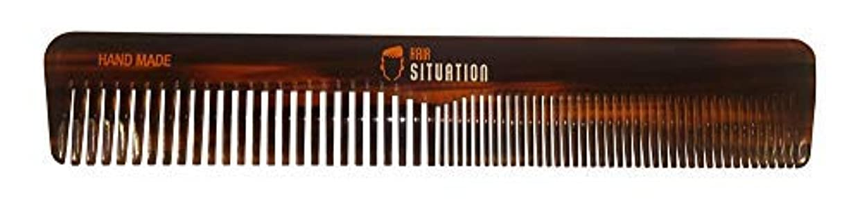 Men Hair Comb ? Full Size, Handmade Tortoise Shell Design, Split Between Fine and Medium Tooth, Anti-Static & No Snag For A Gentle Treatment For Head Hair, Scalp, Beard & Mustache. By Hair Situation [並行輸入品]