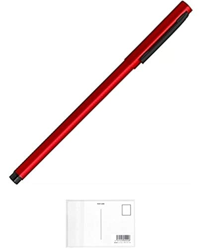 ゼブラ エマルジョンボールペン フォルティアem インク色:黒 軸色:赤 BA98-R 【× 4 本 】 + 画材屋ドットコム ポストカードA