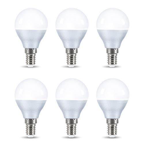 Maxuni Lampadina LED E14 a Sfera, 5W=50W, G45 SES (Small Edison Screw) Lampadine LED 2700K 550LM Luce Bianca Calda Mini Globo non Dimmerabile Pacco da 6 [Classe di efficienza energetica A++]