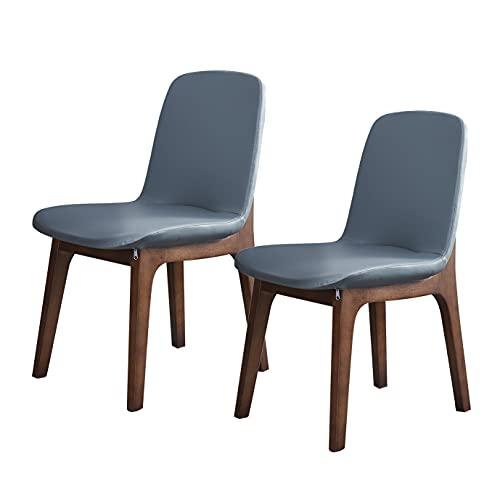 HUAYIN Silla de Comedor de Cuero para Ocio, cómodos sillones Individuales | Sillón de salón para Lectura en Dormitorio Sillón Club con Respaldo Alto y Patas de Madera