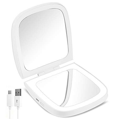 small CLSEVXY LED Travel Makeup Mirror, 1x / 10x Magnification – LED Daylight, Rechargeable Battery,…