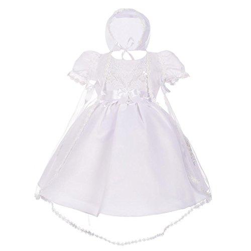 Lito Angels Baby Mädchen Perle Stickerei Taufe Taufkleider Mit Hut Schal Säugling Gr. 6-9 Monate Weiß