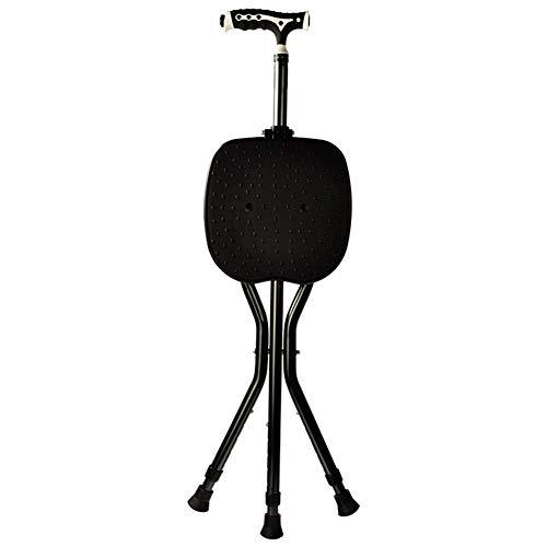 Sofuchtn Kruk met drie poten, opvouwbare wandelstok, led-licht, platte opvouwbare stok, 5 in hoogte verstelbare niveaus, voor mannen of vrouwen, wandelstok voor gehandicapten en ouderen