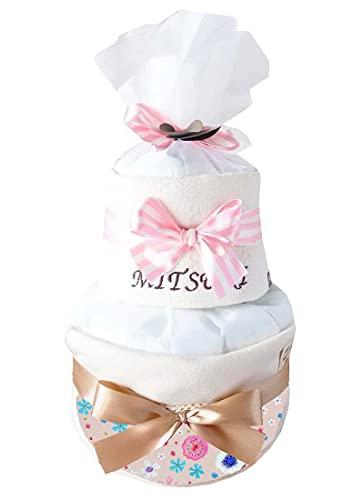 ribon 出産祝い おむつケーキ 今治 タオル 名入れ おしゃれ GOTS認証 北欧 オーガニック (M, フラワーピンク柄)