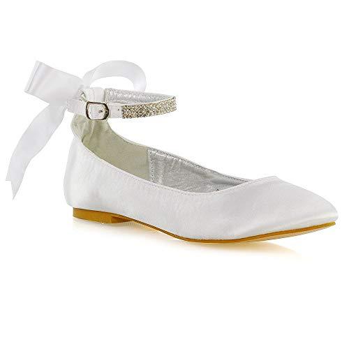 ESSEX GLAM Womens Ankle Strap Pumps Shoes Ladies White Satin Diamante Bow Bridal Ballet Shoes 9 B(M) US