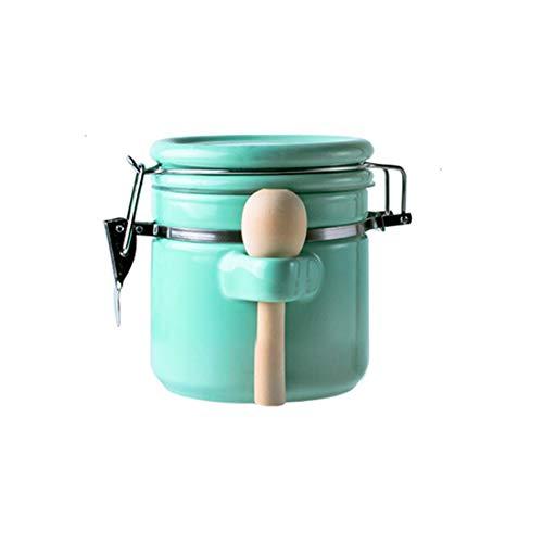 OISII Porzellan-Kaffeedose mit Ventilblöcken Teedosen Puder Süßigkeiten Bohnen, Frischhaltedosen Gewürzbehälter mit Deckel Löffel, Schwarz (Mintgrün, 650ml)