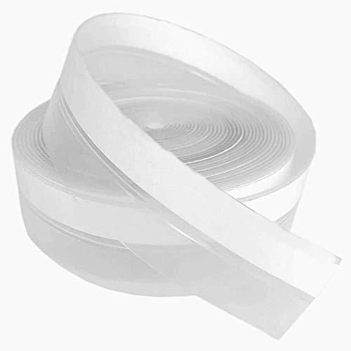 Voarge Tira de sellado autoadhesiva de silicona para puerta de cristal, antimosquitos, impermeable, translúcida, 2,5 x 600 cm
