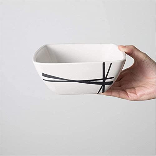 ZJDU Mini Conjunto de Cubiertos, vajilla Conjuntos de Cena vajilla Creativo Negro a Rayas cerámica Cubiertos Cuadrado Placa de Filete Postre Placa Fideos Cuenco arroz Taza Personalizado Blanco