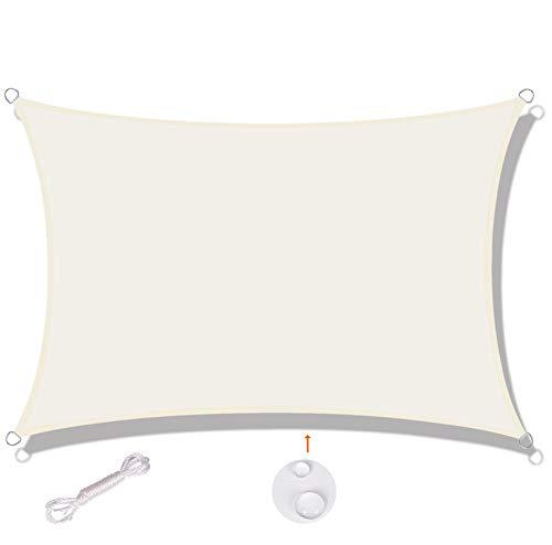 SUNNY GUARD Toldo Vela de Sombra Rectangular 4x6m Impermeable a Prueba de Viento protección UV para Patio, Exteriores, Jardín, Color Crema