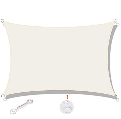 SUNNY GUARD Toldo Vela de Sombra Rectangular 3x4m Impermeable a Prueba de Viento protección UV para Patio, Exteriores, Jardín, Color Crema