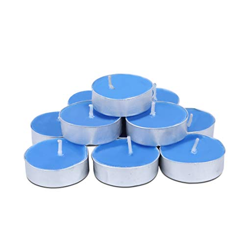 ARIJA Scented Blue Tea Lights Candles Pack of 50 - Small Votive Tea Light Vanilla Fragrance Candles for Home, Christmas, Dinner Party and Wedding Decoration - Handpoured, Smokless, Dripless Candles