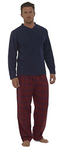 Tom Franks - Pyjama pour Hommes avec Haut Thermique Manche Longue - Bleu Marine/Rouge, M