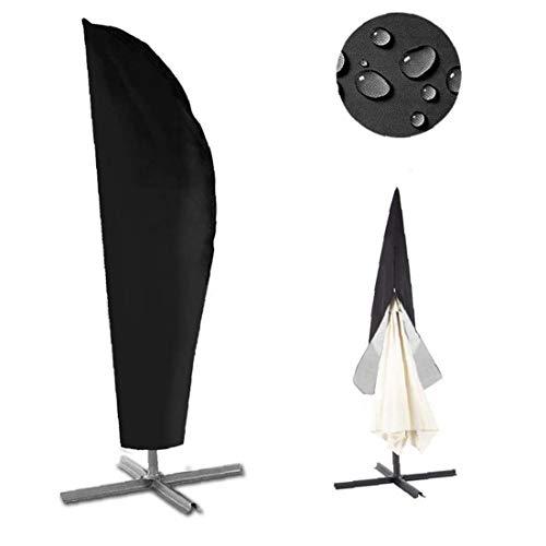 DierCosy Schutzhülle für Sonnenschirm 210D Sonnenschirmhülle Abdeckhauben mit Reißverschluss und wasserdichtem Oxford-Stoff Schwarz Schirmhüll für Wetterfeste Outdoor (240)