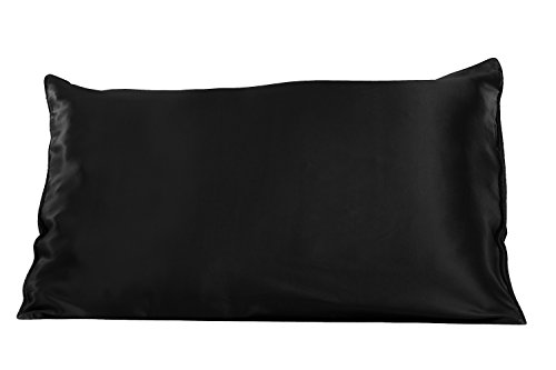 TexereSilk 22 Momme Mulberry Silk Pillowcase (Single Pack, Black, Q)...