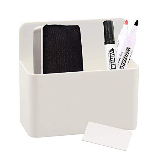 1 Pack Magnetic Dry Erase Marker Holder, Whiteboard Marker Holder, Mighty-magnetic Marker Pen Organizer for Whiteboards (White)