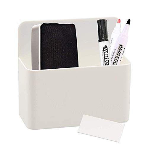 1 Pack Magnetic Dry Erase Marker Holder, Whiteboard Marker Holder, Mighty-magnetic Marker Pen Organizer for Whiteboards (White)
