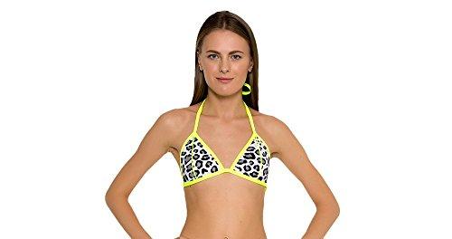 GlideSoul Damen 0,5mm Triangle Bikini Top–Leopard/Lemon, 2X -small