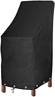 Patio Chair Covers Waterproof Durable Outdoor Bar Stool Cover Premium Stairs Cover Stackable Chairs Cover Black Thick Oxford Cloth (L27.5 x D27.5 x H49.2 inch, 1 Pack with Lock Hole)