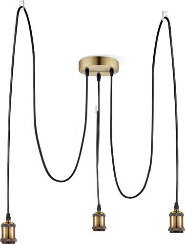 Hängelampe Lámpara de techo vintage de latón, diseño industrial, cable de tela, 2 m cada uno, lámpara de cocina, 3 luces, lámpara colgante, retro, altura 100 cm
