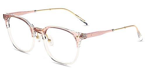 Firmoo Brille mit Blaulichtfilter ohne Sehstärke Pink Damen, Blaufilter Gläser Computerbrille gegen Kopfschmerzen Müdigkeit, Nerd Rundförmige Vollrandbrille Anti 400UV Strahlung