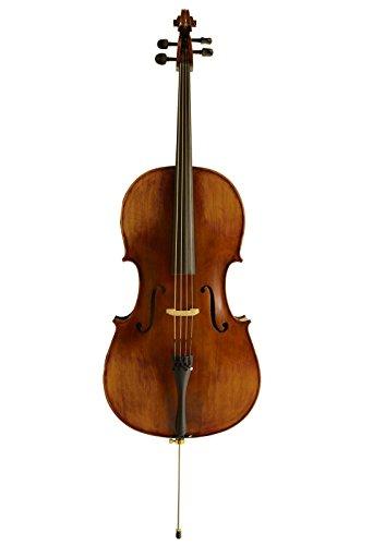 Sinfonie24 Cello Set Größe 4/4, Hamburger Geigenbau Manufaktur, lebhafter, warmer, runder Klang, (Plus II) dicke Tasche, Bogen, Kolophonium, bernsteinfarben, akustisch